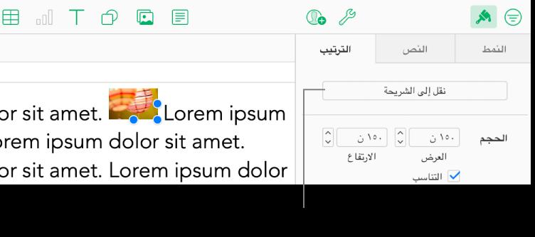"""يتم تحديد الصورة المضمنة داخل مربع النص، ويظهر الزر """"نقل إلى الورقة"""" في علامة التبويب """"ترتيب"""" في الشريط الجانبي."""