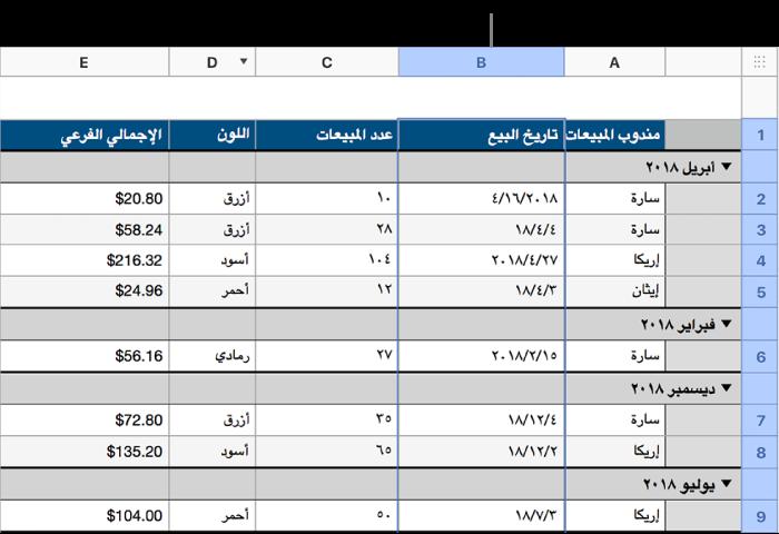 جدول يحتوي على بيانات مبيعات القمصان التي تم تصنيفها حسب تاريخ البيع؛ يتم تجميع صفوف البيانات حسب الشهر والسنة (القيم المشتركة في عمود المصدر).