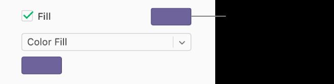 La casilla Relleno está seleccionada en la barra lateral y la paleta de colores predefinidos de la derecha muestra el color lila. Debajo de la casilla, Relleno de color está seleccionado en un menú desplegable y, debajo, la paleta de colores personalizados muestra el color lila.