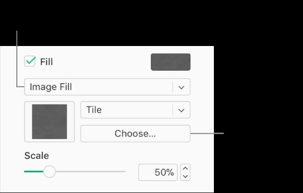 La casilla Relleno está seleccionada en la barra lateral, y Relleno de imagen aparece en el menú desplegable debajo de la casilla. Los controles para elegir una imagen, su escala y cómo rellena el objeto aparecen debajo del menú desplegable. Aparece una vista previa de la imagen en un cuadro debajo del menú desplegable Relleno de imagen después de elegir una imagen.