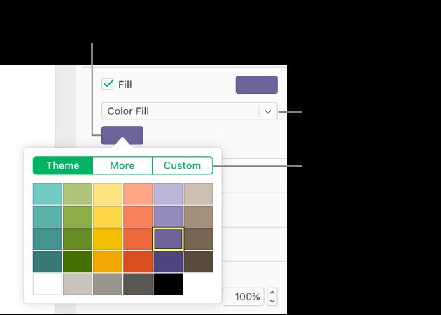 El relleno de color se selecciona en el menú desplegable Relleno y la paleta de colores que hay debajo muestra opciones de relleno de color adicionales.