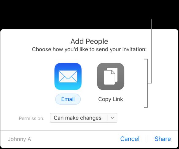 """Die Tasten """"Link per E-Mail senden"""" und """"Link kopieren""""."""
