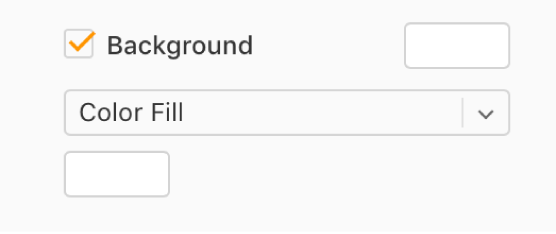 The Background checkbox is selected in the sidebar, and the preset color well to the right of the checkbox is filled with white. Below the checkbox, Color Fill is chosen in a pop-up menu, and below that, the custom color well is filled with white.