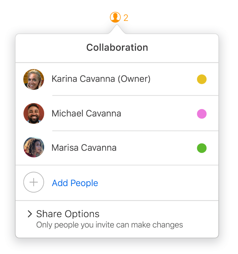 The Collaboration menu showing the names of people collaborating on the document. Share options are below the names.
