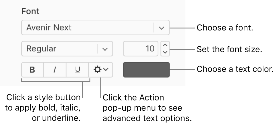 The font and text style controls in the Format sidebar.