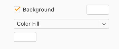 Tausta-valintaneliö on valittuna sivupalkissa ja valmiiksi määritettyjen värien värivalitsin valintaneliön oikealla puolella on täytetty valkoisella. Valintaneliön alla olevassa ponnahdusvalikossa on valittuna Väritäyttö. Sen alla oleva muokattu värivalitsin on täytetty valkoisella.