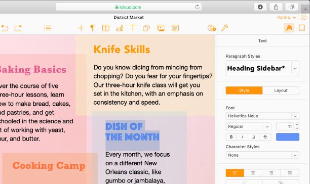 Et dokument med valgt tekst. Alternativer for å endre tekstens font, farge, størrelse og annet finnes i Format-sidepanelet til høyre.