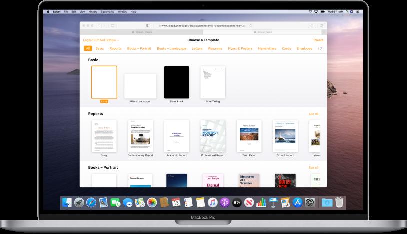 Malvelgeren er åpen og viser et utvalg av eksempeldokumenter du kan velge mellom.