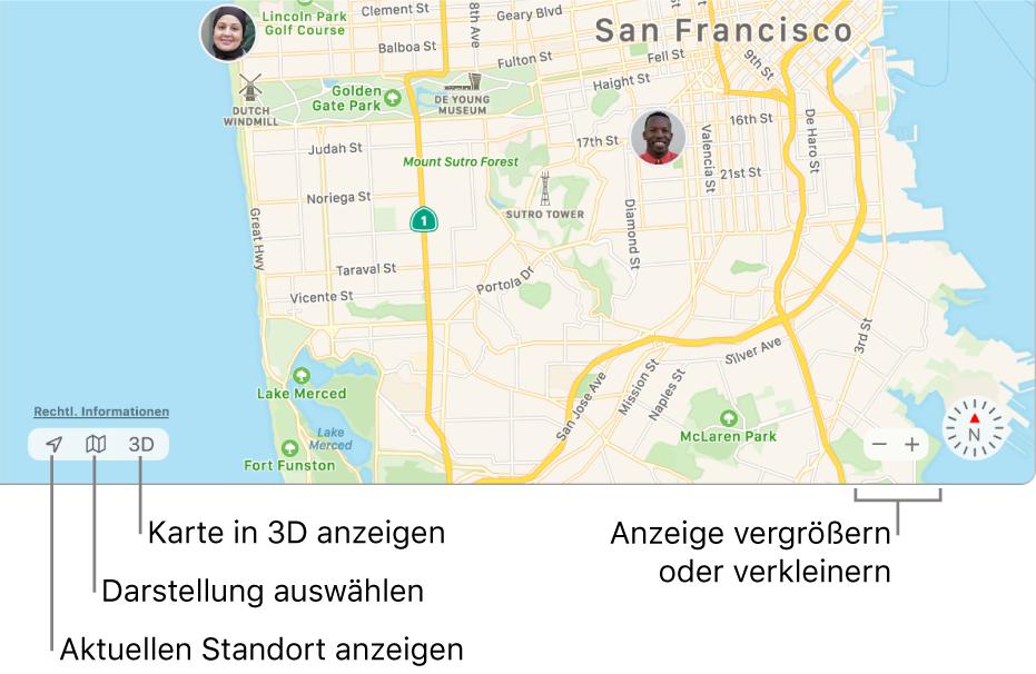 """Ansicht des """"Wo ist?""""-Fensters mit den Standorten von Personen auf einer Karte. Verwende die Tasten unten links, um deinen aktuellen Standort zu sehen, eine Darstellung auszuwählen und die Karte in 3D anzuzeigen. Die Tasten unten rechts kannst du verwenden, um die Karte ein- oder auszuzoomen."""