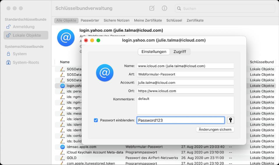Dialogfenster zur Bestätigung der Speicherung eines Passworts