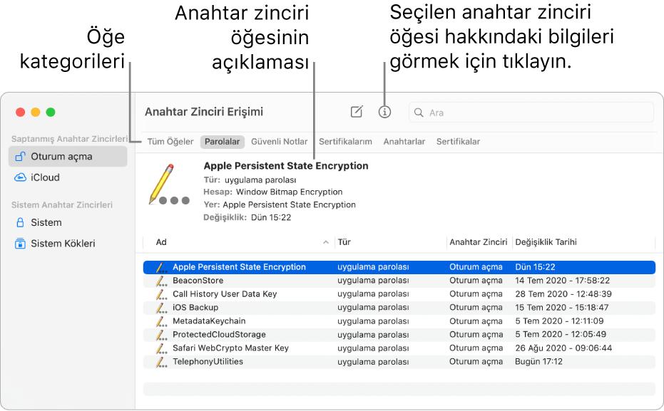 Anahtar Zinciri Erişimi penceresi. Sol tarafta anahtar zincirlerinizin bir listesi var. Sağ üstte seçili anahtar zincirinde bulunan öğe kategorilerinin (Parolalar gibi) bir listesi bulunur. Sağ altta seçilen kategorideki öğelerin bir listesi bulunur ve öğe listesinin üzerinde seçili öğenin bir açıklaması bulunur.