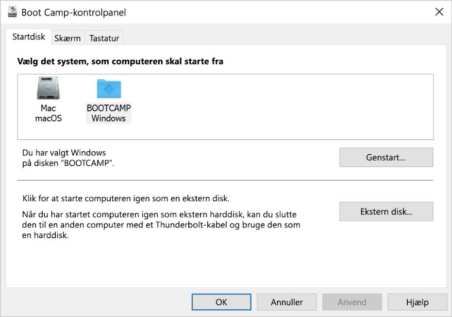 Boot Camp-kontrolpanel, der viser vinduet til valg af startdisk, som også giver mulighed for at vælge at genstarte computeren eller bruge computeren som ekstern harddisk.