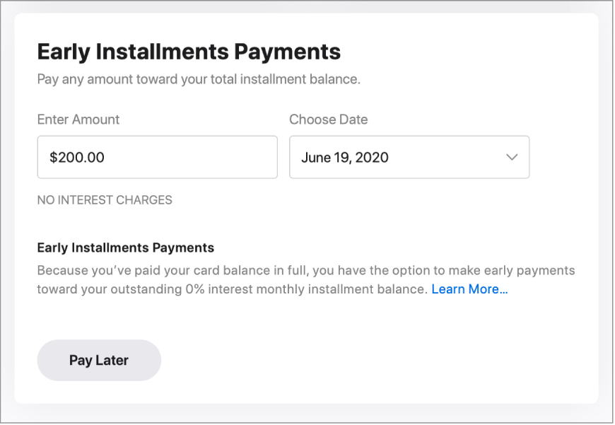 """The one-time payment section, which has a title of """"Early Installment Payments."""" The amount listed is $200 and a future date is selected."""