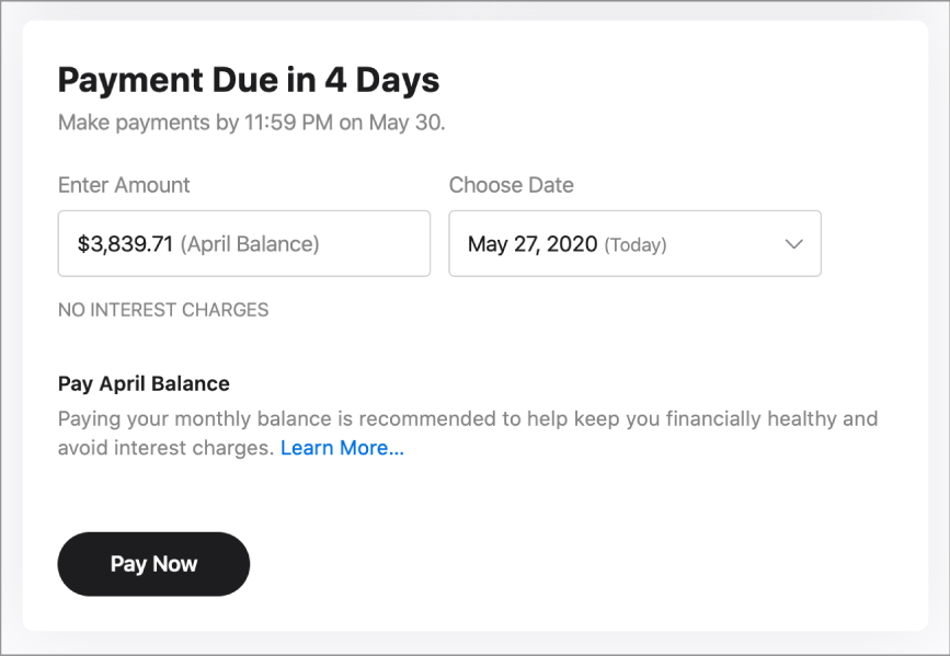The one-time payment section. The amount listed is the April Balance, and today's date is selected.