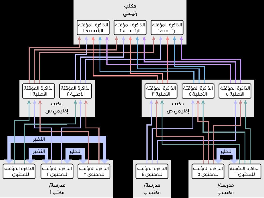 شبكة ذات عدة ذاكرات تخزين مؤقت للمحتوى، منظمة في تسلسل هرمي من ثلاث مراحل يضم ذاكرات التخزين المؤقت للمحتوى الأصلية والفرعية. ذاكرات التخزين المؤقت للمحتوى وقد تم تحديد النظراء بها على المستوى الأدنى في التسلسل الهرمي فقط.