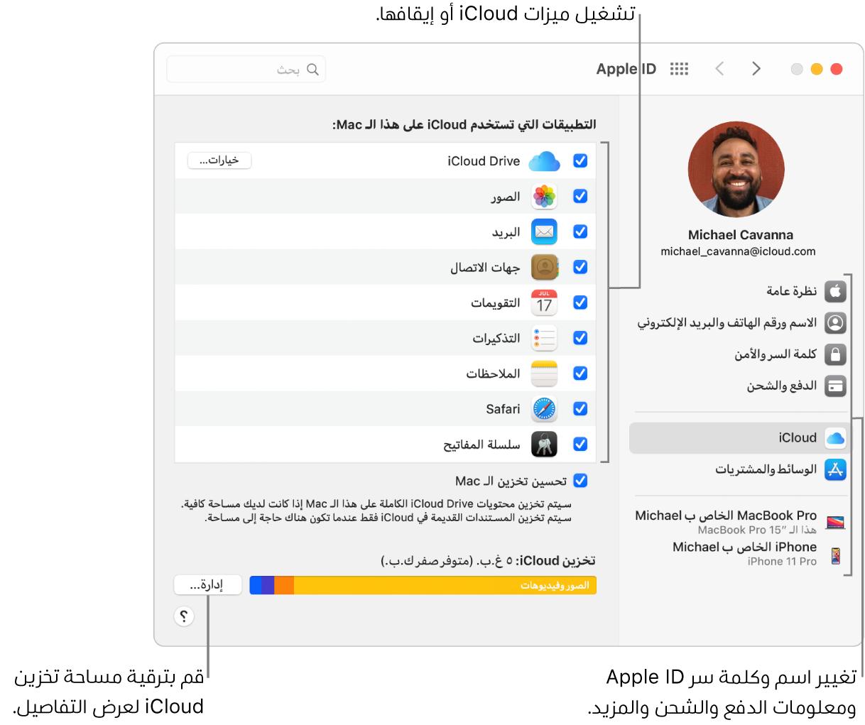 تفضيلات iCloud مع تحديد جميع الميزات.