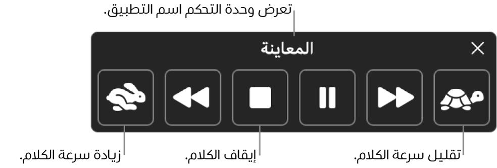وحدة التحكم على الشاشة التي يمكن أن تظهر عندما ينطق الـMac نصًا محددًا. توفر وحدة التحكم ستة أزرار تتيح لك، من اليمين إلى اليسار، تقليل سرعة الكلام والتخطي للخلف جملة واحدة وتشغيل النطق أو إيقافه مؤقتًا وإيقاف النطق والتخطي للأمام جملة واحدة وزيادة سرعة الكلام. يظهر اسم التطبيق في أعلى وحدة التحكم.