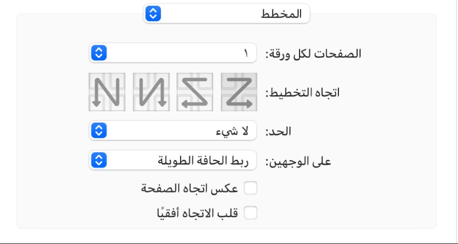 يكون خيار التخطيط محددًا في القائمة المنبثقة لخيار الطباعة، مع خانة الاختيار عكس اتجاه الصفحة.