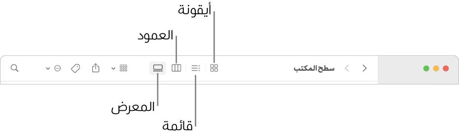 الجزء العلوي من نافذة Finder يعرض أزرار الخيار عرض لمجلد.