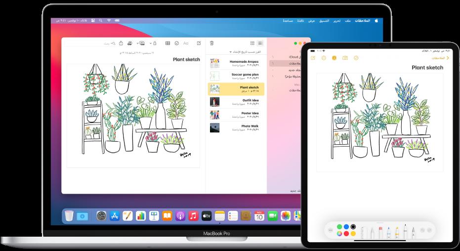 جهاز iPadPro يعرض رسمًا تخطيطيًا، بجوار Mac حيث يظهر الرسم التخطيطي في ملاحظة.