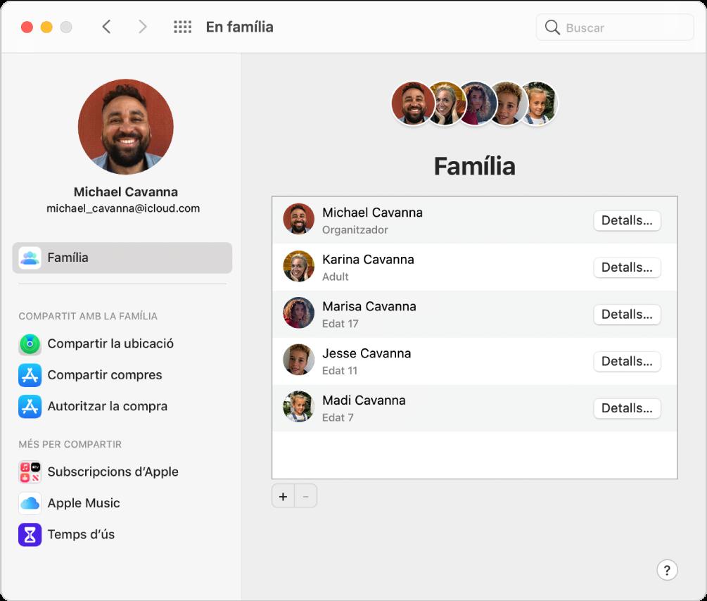 """El tauler de preferències """"En família"""", que mostren una barra lateral amb diversos tipus d'opcions de compte que pots utilitzar i les preferències d'""""En família"""" d'un compte existent."""