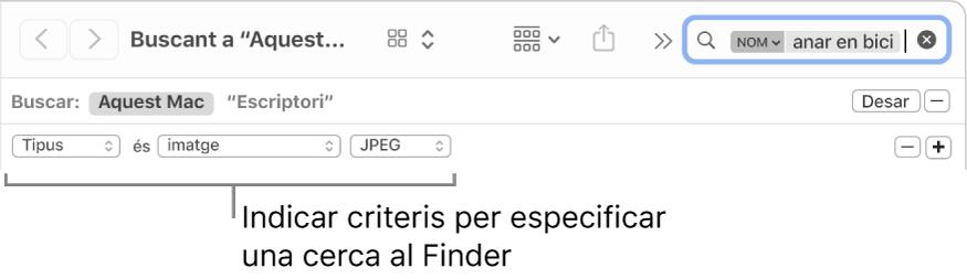 Una finestra del Finder amb camps per especificar criteris de cerca.