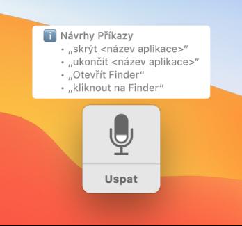 Okno odezvy hlasového ovládání se zobrazenými návrhy příkazů, například Open Finder nebo Click Finder