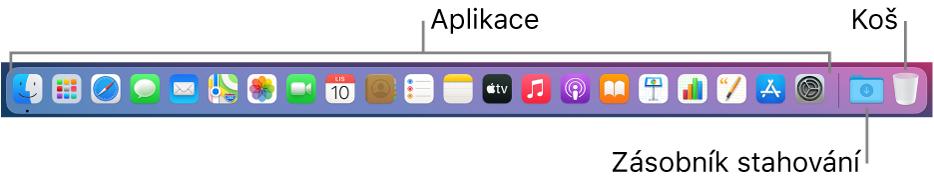 Dock obsahující ikony pro aplikace, sadu Stahování akoš.