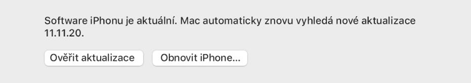 """Tlačítko """"Vyhledat aktualizaci"""" zobrazené vedle tlačítka """"Obnovit zařízení""""."""