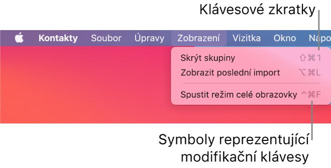 Aplikace Safari se zvýrazněnými klávesovými zkratkami vnabídce Soubor