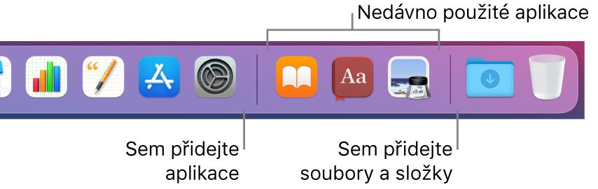 Pravá strana Docku; jsou vidět dělicí čáry před aza oddílem naposledy použitých aplikací
