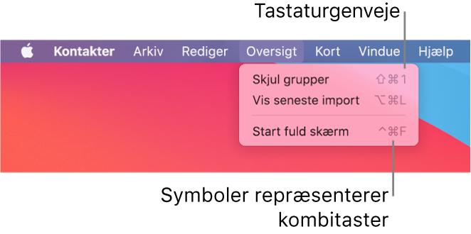 Programmet Safari med tastaturgenveje på menuen Arkiv fremhævet