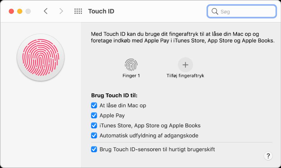 Vinduet Touch ID, der viser et fingeraftryk, der er klar og kan bruges til at låse Mac op.