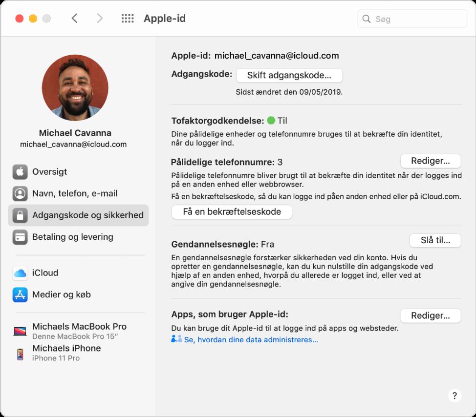 Indstillinger til Apple-id viser en indholdsoversigt med forskellige typer kontomuligheder, du kan bruge, og indstillinger til Adgangskode og sikkerhed for en eksisterende konto.