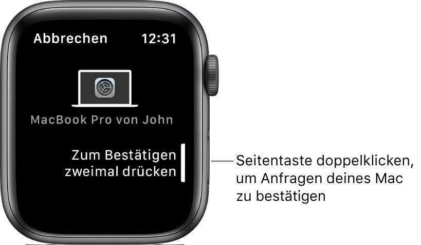 Die AppleWatch zeigt eine Bestätigungsanfrage von einem MacBook Pro an.