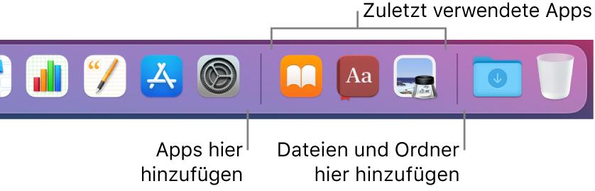 Ein Teil des Docks mit einer Trennlinie zwischen Apps, zuletzt verwendeten Apps sowie Dateien und Ordnern