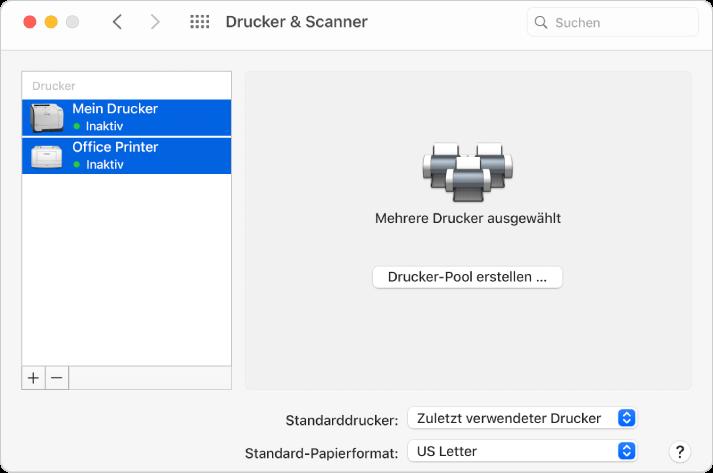 """Das Fenster """"Drucker & Scanner"""" mit zwei ausgewählten Druckern in der Druckerliste und der Taste """"Drucker-Pool erstellen"""" rechts."""