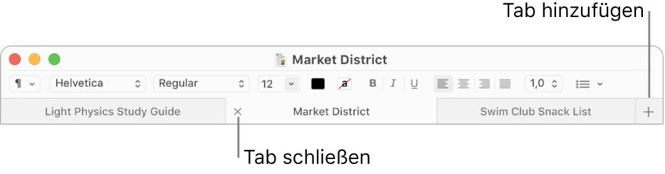 """TextEdit-Fenster mit drei Tabs in der Tableiste (unter der Format-Leiste) In einem Tab wird die Taste """"Schließen"""" angezeigt. Die Taste """"Hinzufügen"""" befindet sich am rechten Ende der Tableiste."""