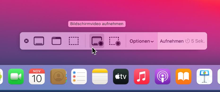 """Der Schreibtisch mit der geöffneten App """"Bildschirmfoto"""", die bereit ist für eine Aufnahme des gesamten Bildschirms."""