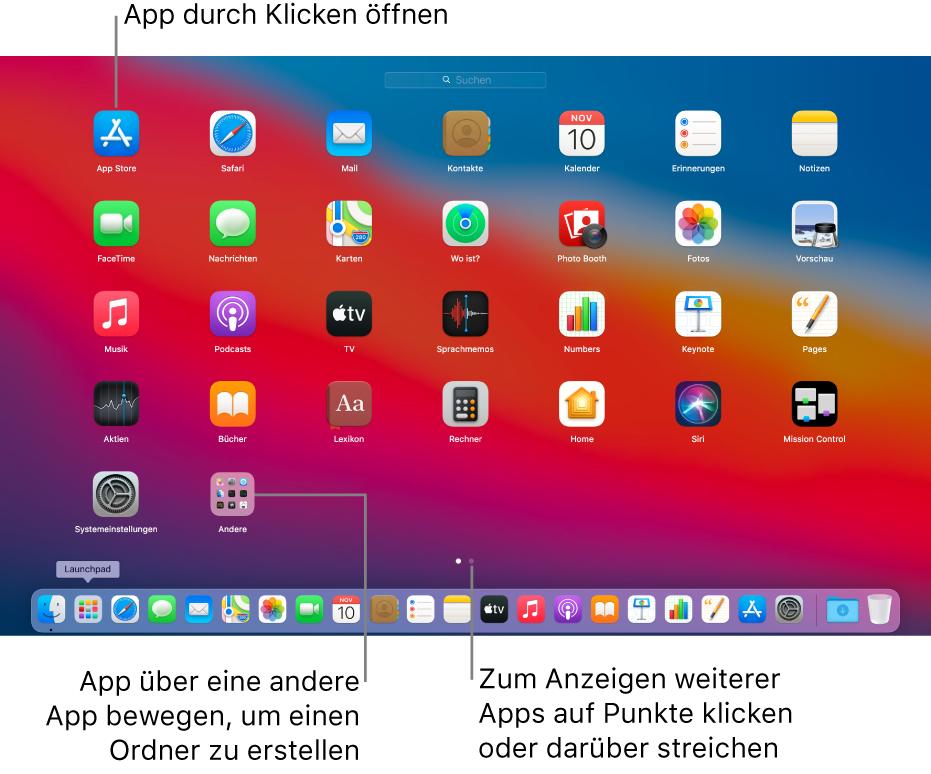 Launchpad mit Apps, die geöffnet werden können.