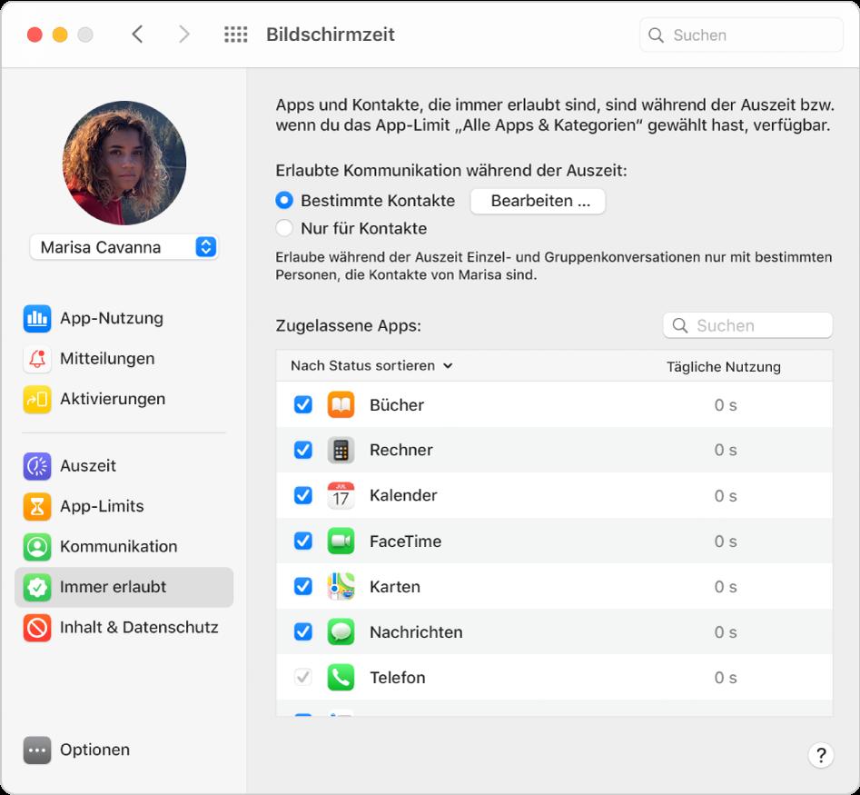 """Der Bereich """"Immer erlaubt"""" der Bildschirmzeit mit ausgewählten Optionen für die Auszeit und den erlaubten Apps, die nach Status sortiert sind."""