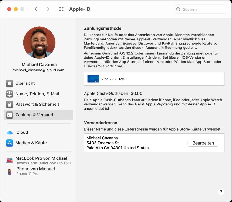 """Systemeinstellung """"Apple-ID"""" mit einer Seitenleiste der verschiedenen Typen von Accountoptionen, die du verwenden kannst, und Einstellungen unter """"Zahlung & Versand"""" eines vorhandenen Accounts."""