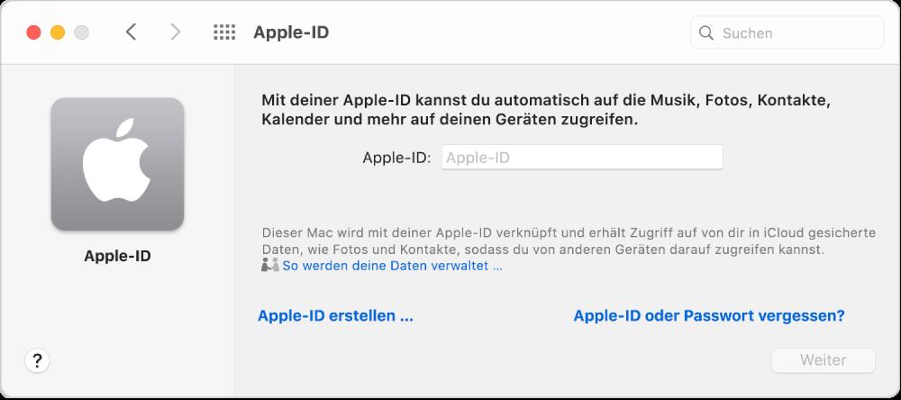 """Apple-ID-Dialogfenster für die Eingabe eines Namens für eine Apple-ID. Ein Link """"Apple-ID erstellen"""" ermöglicht es dir, eine neue Apple-ID zu erstellen."""