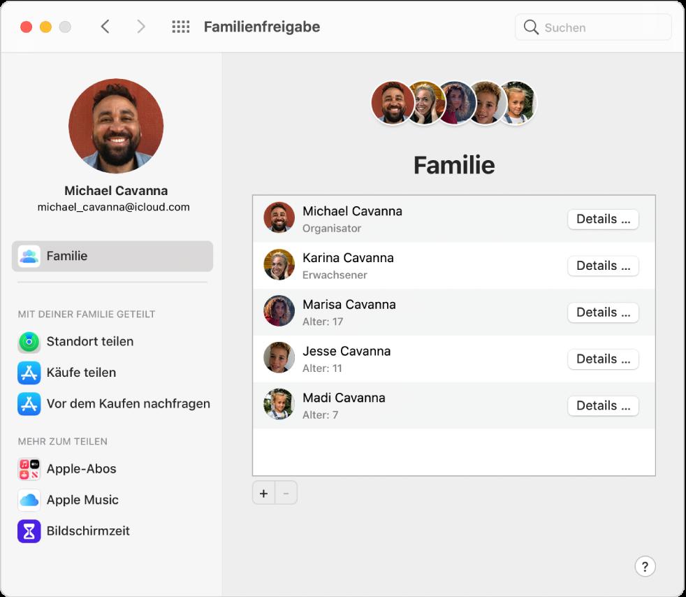 """Systemeinstellung """"Familienfreigabe"""" mit einer Seitenleiste der verschiedenen Typen von Accountoptionen, die du verwenden kannst, und Einstellungen unter """"Familie"""" eines vorhandenen Accounts"""