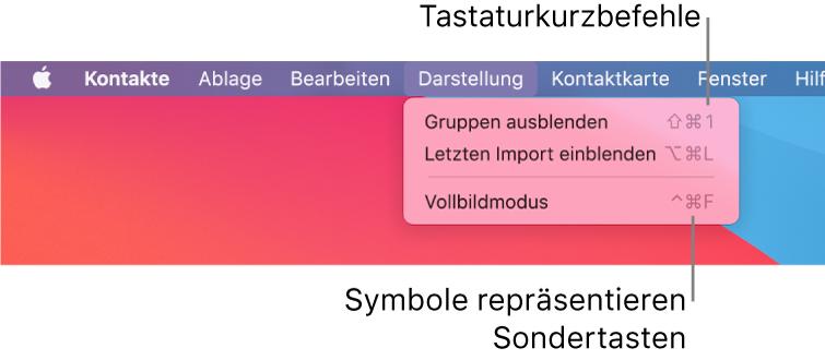 """In der App """"Safari"""" werden die Tastaturkurzbefehle im Menü """"Ablage"""" hervorgehoben."""
