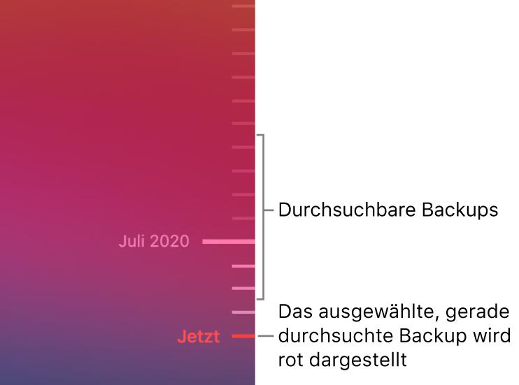 Skalenstriche in der Backup-Timeline. Der rote Skalenstrich zeigt das Backup an, das du durchblätterst