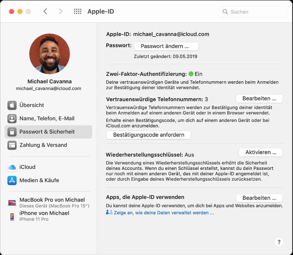 """Systemeinstellung """"Apple-ID"""" mit einer Seitenleiste der verschiedenen Typen von Accountoptionen, die du verwenden kannst, und Einstellungen unter """"Passwort & Sicherheit"""" eines vorhandenen Accounts."""