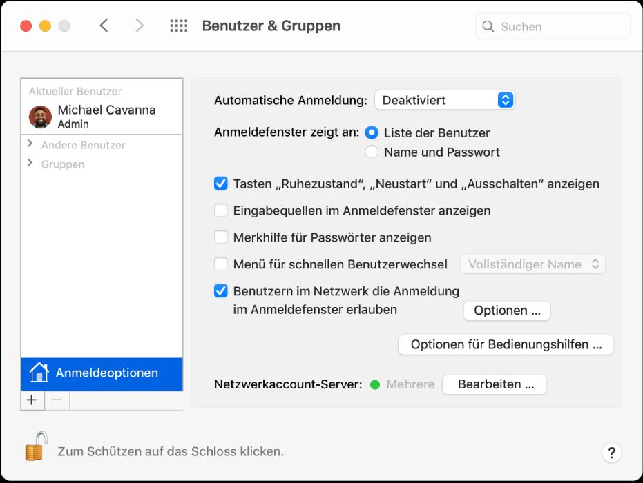 """Der Bereich """"Anmeldeoptionen"""" in der Systemeinstellung """"Benutzer & Gruppen"""" in dem du auswählen kannst, wie ein Benutzer sich anmeldet."""