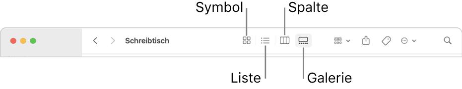 Der obere Bereich eines Finder-Fensters mit den Tasten für die Anzeigeoptionen eines Ordners.