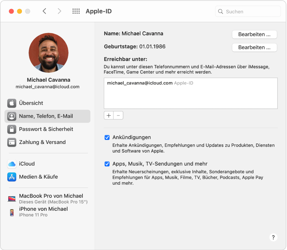 """Systemeinstellung """"Apple-ID"""" mit einer Seitenleiste der verschiedenen Typen von Accountoptionen, die du verwenden kannst, und Einstellungen für Name, Telefon, E-Mail eines vorhandenen Accounts."""
